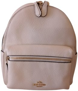 a7dd6e6d35 Coach Mini Charlie Pebble 38263 Gold Chalk White Leather Backpack 68% off  retail