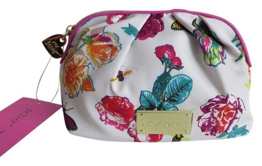 Preload https://item2.tradesy.com/images/betsey-johnson-multicolored-pink-green-yellow-white-floral-and-butterflies-cosmetic-bag-2320721-0-0.jpg?width=440&height=440