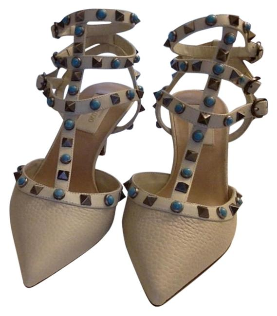 Item - White and Teal Ivory Rockstud Cage Sandals Size EU 39.5 (Approx. US 9.5) Regular (M, B)