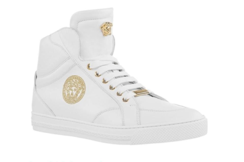 Versace New Men's Gold Medusa Embroidered High Top 42 Sneakers Size US 9  Regular (M, B)