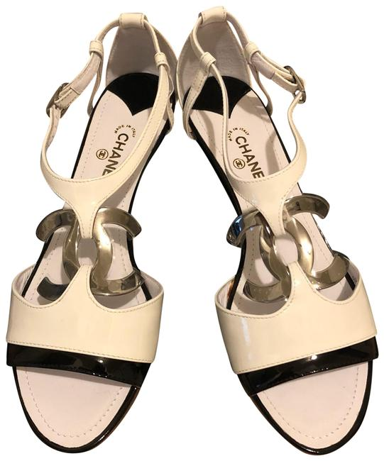 Item - Black & White Sandals Heel with Large Little Silver Tone Logo Wedges Size EU 38.5 (Approx. US 8.5) Regular (M, B)