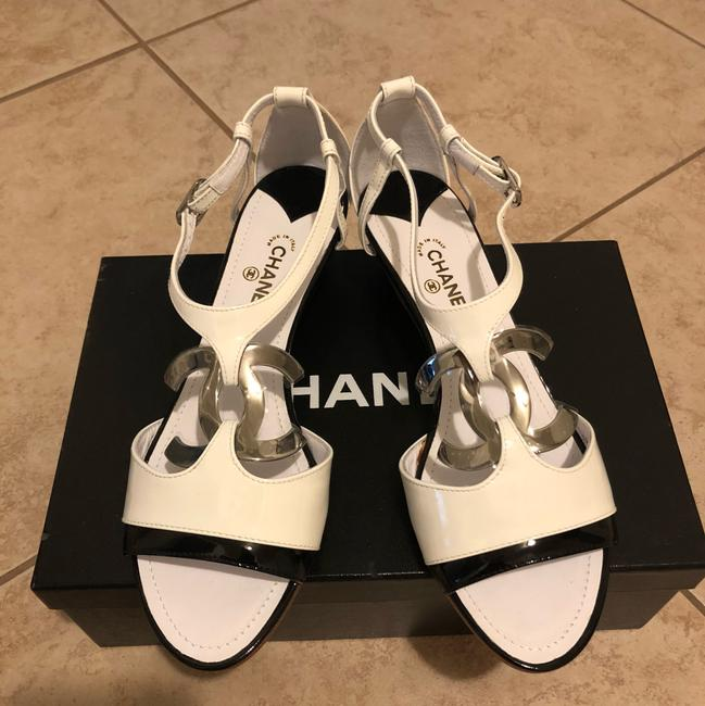 Chanel Black & White Sandals Heel with Large Little Silver Tone Logo Wedges Size EU 38.5 (Approx. US 8.5) Regular (M, B) Chanel Black & White Sandals Heel with Large Little Silver Tone Logo Wedges Size EU 38.5 (Approx. US 8.5) Regular (M, B) Image 2