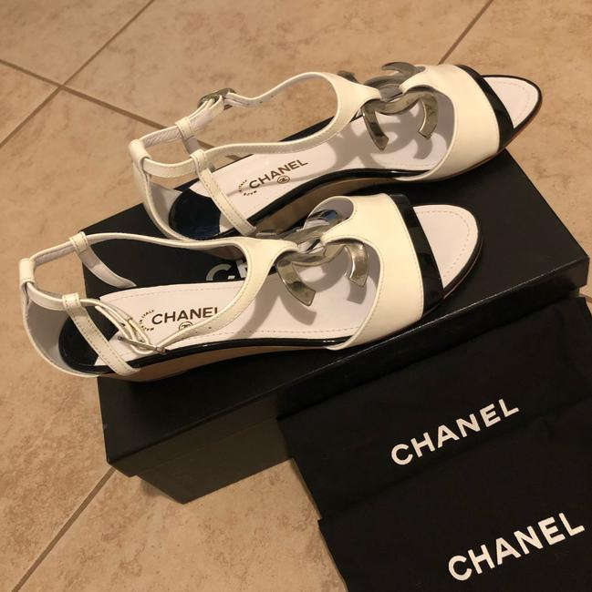 Chanel Black & White Sandals Heel with Large Little Silver Tone Logo Wedges Size EU 38.5 (Approx. US 8.5) Regular (M, B) Chanel Black & White Sandals Heel with Large Little Silver Tone Logo Wedges Size EU 38.5 (Approx. US 8.5) Regular (M, B) Image 3