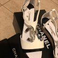 Chanel Black & White Sandals Heel with Large Little Silver Tone Logo Wedges Size EU 38.5 (Approx. US 8.5) Regular (M, B) Chanel Black & White Sandals Heel with Large Little Silver Tone Logo Wedges Size EU 38.5 (Approx. US 8.5) Regular (M, B) Image 4