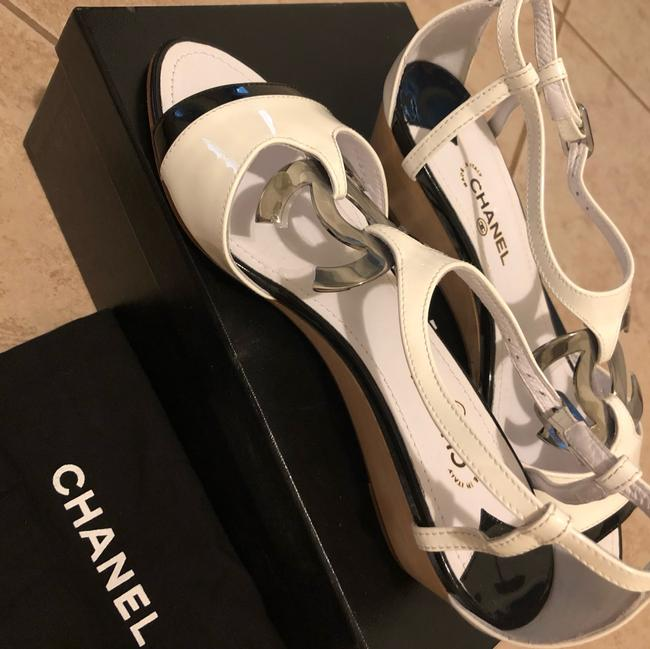 Chanel Black & White Sandals Heel with Large Little Silver Tone Logo Wedges Size EU 38.5 (Approx. US 8.5) Regular (M, B) Chanel Black & White Sandals Heel with Large Little Silver Tone Logo Wedges Size EU 38.5 (Approx. US 8.5) Regular (M, B) Image 5