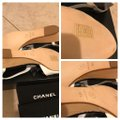 Chanel Black & White Sandals Heel with Large Little Silver Tone Logo Wedges Size EU 38.5 (Approx. US 8.5) Regular (M, B) Chanel Black & White Sandals Heel with Large Little Silver Tone Logo Wedges Size EU 38.5 (Approx. US 8.5) Regular (M, B) Image 8