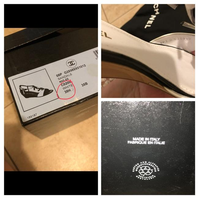 Chanel Black & White Sandals Heel with Large Little Silver Tone Logo Wedges Size EU 38.5 (Approx. US 8.5) Regular (M, B) Chanel Black & White Sandals Heel with Large Little Silver Tone Logo Wedges Size EU 38.5 (Approx. US 8.5) Regular (M, B) Image 9