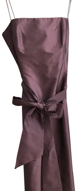 Item - Plum Silk Taffeta Bow Mid-length Formal Dress Size 12 (L)