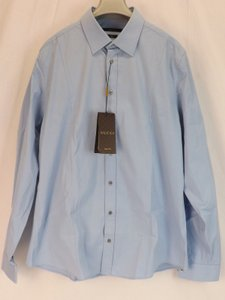 Gucci Blue Sky Stretch Popeline Piece Cotton Slim Dress 17.5 44 #269070 Shirt