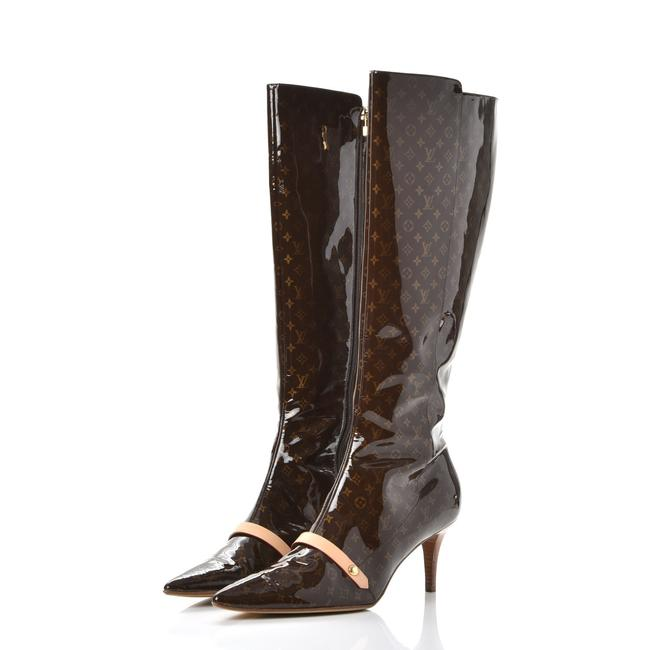 Item - Brown Beige Gold Tan Monogra Vernis Gina Pointed-toe Tall Boots/Booties Size EU 39.5 (Approx. US 9.5) Regular (M, B)