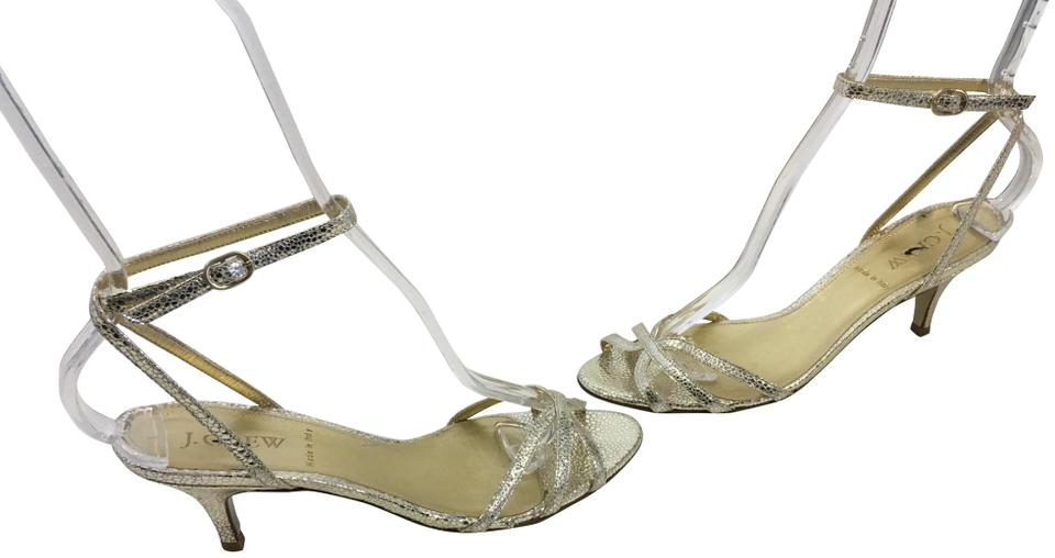 6cda7eb88d1 J.Crew Gold embossed leather inc heels snake pattern leather lining insoles  wrap ankle straps .
