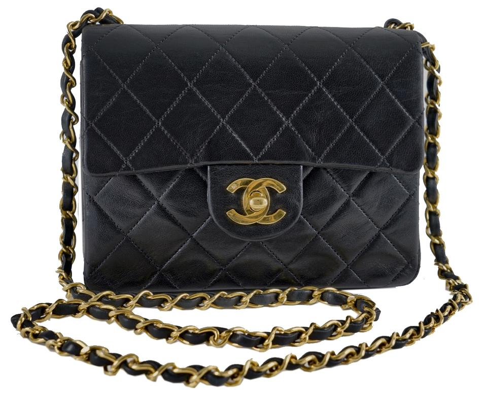e1f84b0efd31e3 Chanel Classic Flap Quilted Minisingle Black Lambskin Leather Cross ...
