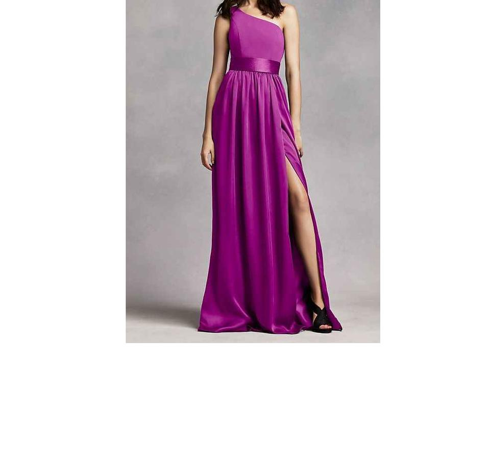 85ff7c8742e570 White by Vera Wang Fuchsia Purple Satin Bridesmaid David's Bridal Vw360215  Traditional Wedding Dress