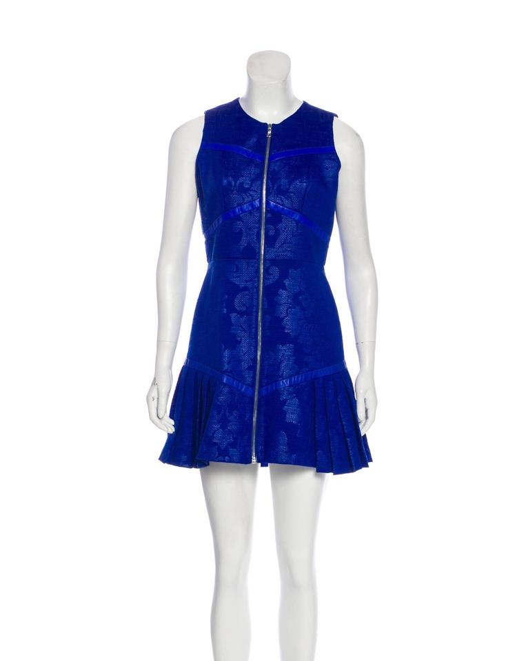 a88cbaf0a40a Alexis Blue Kloss Genuine Leather Trim Silk Lined Structured Cocktail Dress