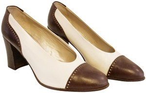 Nickels Leather Sale Brown and Cream Pumps