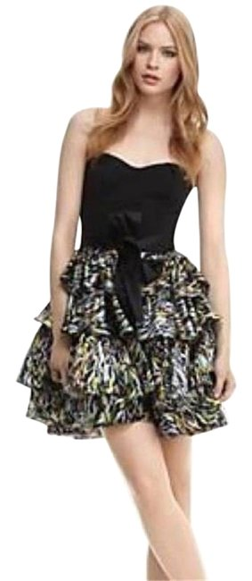 Item - Black/Multi Dvf Alkin Belted Tiered Strapless Brush Marks Short Night Out Dress Size 10 (M)