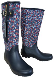 Tommy Hilfiger Water-resistant Gold Hardware Textured Rubber Navy, Red and White Boots