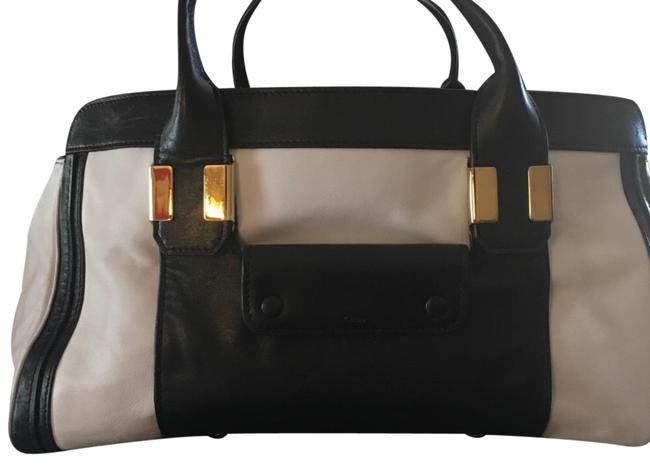 Item - See Tag Black and White Lambskin Leather Satchel