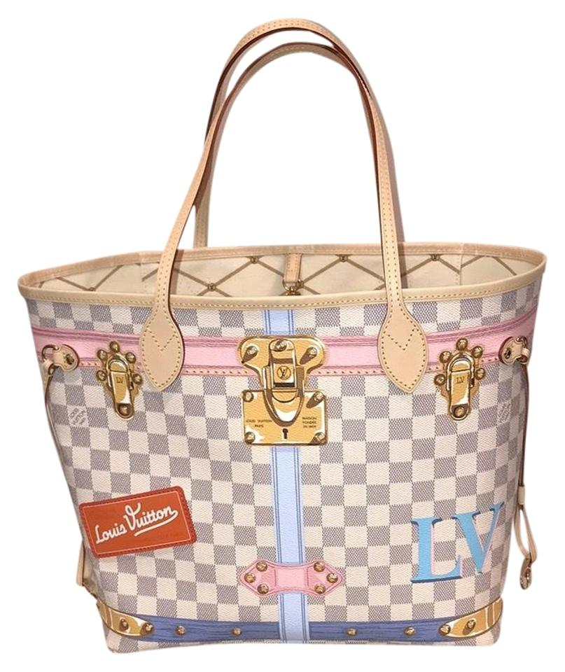 Louis Vuitton Neverfulll Mm Trunks Collection 2018 Limited Edition Tote In Damier Azur