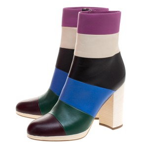 Valentino Striped Leather Ankle Multicolor Boots