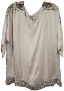 Carina Ricci ITALY Semi Sheer Lace Patch Design Silk Lined With Cami Silhouette Tunic