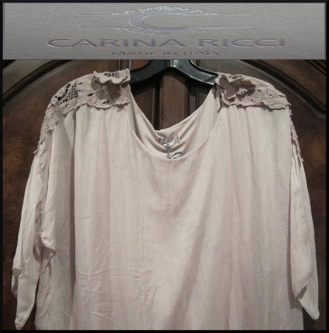 Carina Ricci ITALY Semi Sheer Lace Patch Design Silk Lined With Cami Silhouette Tunic Image 1