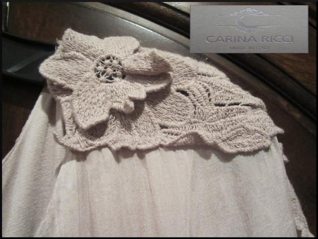 Carina Ricci ITALY Semi Sheer Lace Patch Design Silk Lined With Cami Silhouette Tunic Image 3