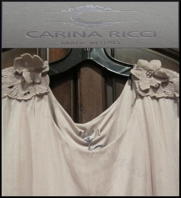 Carina Ricci ITALY Semi Sheer Lace Patch Design Silk Lined With Cami Silhouette Tunic Image 5