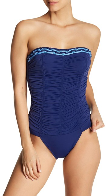 Item - Navy Ruched Strapless One-piece Swimsuit Cover-up/Sarong Size 12 (L)
