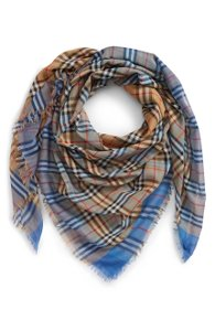 Burberry NEW Burberry Colorblock Vintage Check Cotton Square Scarf Blue