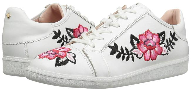 Item - White New Floral Embroidered Leather Casual Flat Sneakers Size US 8 Regular (M, B)