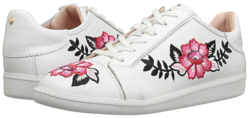 eea6c045aca Kate Spade Sneakers Embroidered Leather Sneaker Floral Sneaker Flat white  Athletic Image 0 ...