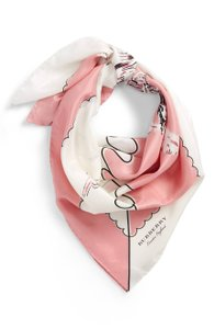Burberry NEW Burberry London Landscape Silk Square Scarf Pink White