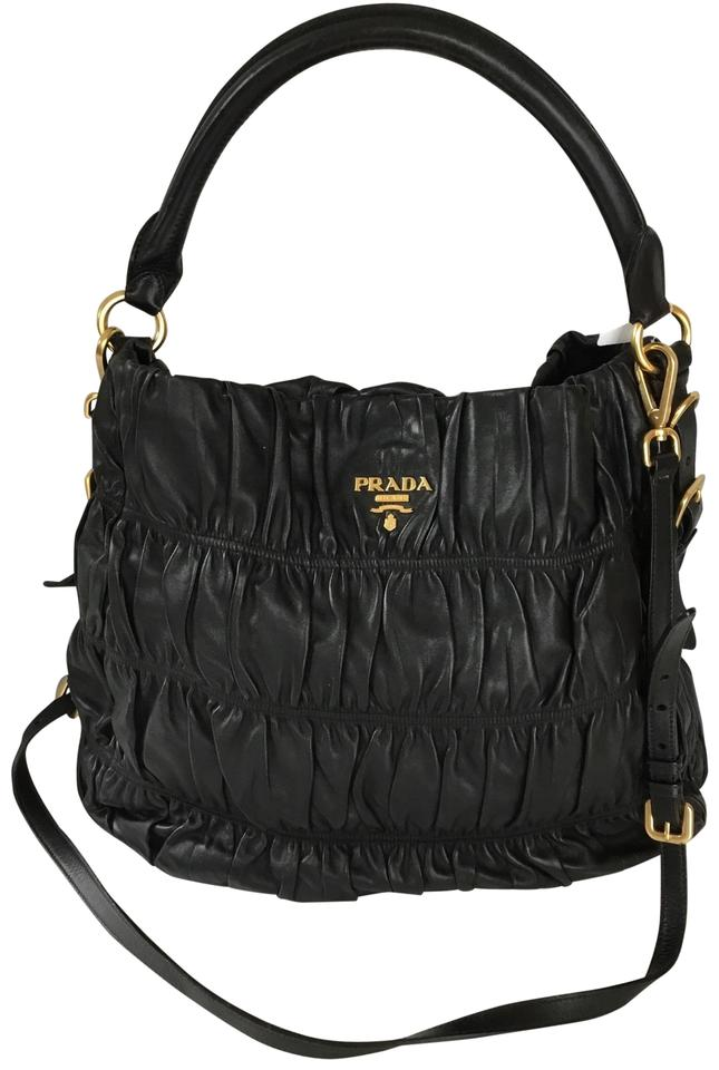 9dcd57f0da50 Prada Nappa Gaufre with Strap Handbag Black Leather Hobo Bag - Tradesy