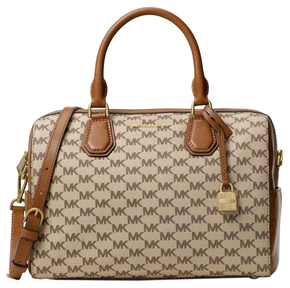 a9bcb8eee499 MICHAEL Michael Kors Mercer Heritage Medium Duffle Natural Luggage Coated  Canvas Satchel