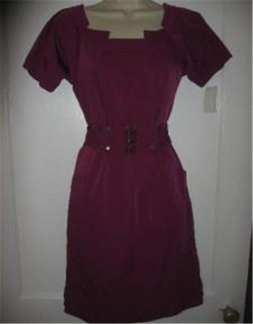 Diane von Furstenberg short dress Berry Poplin Beda Belted on Tradesy Image 1