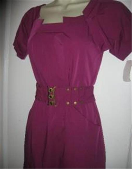 Diane von Furstenberg short dress Berry Poplin Beda Belted on Tradesy Image 3