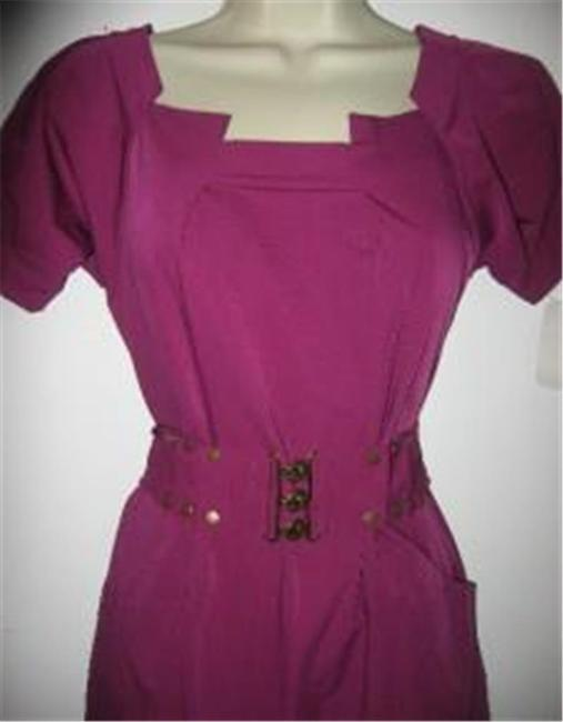 Diane von Furstenberg short dress Berry Poplin Beda Belted on Tradesy Image 4