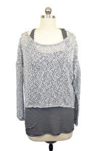 Bar III Attached Tank Stripes Crop Sweater
