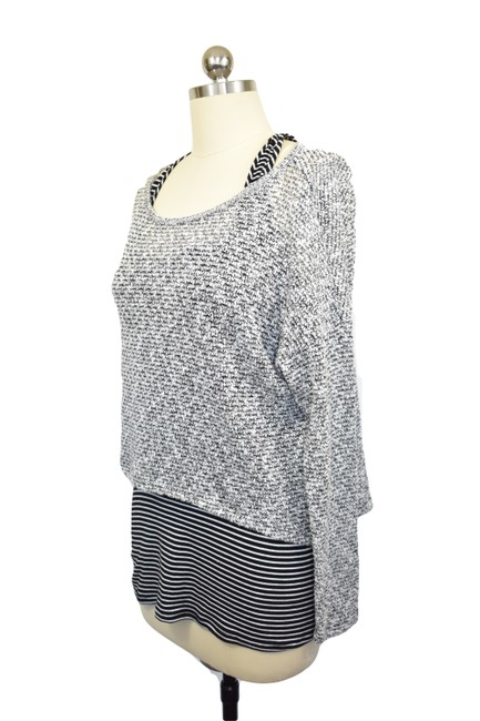 Bar III Attached Tank Stripes Crop Sweater Image 1