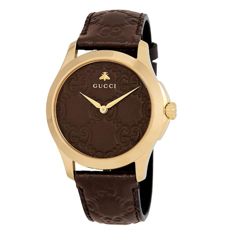 f35e7e0a460 Gucci G-Timeless Brown Leather Strap GG Dial Men s Dress Watch Style Image  0 ...