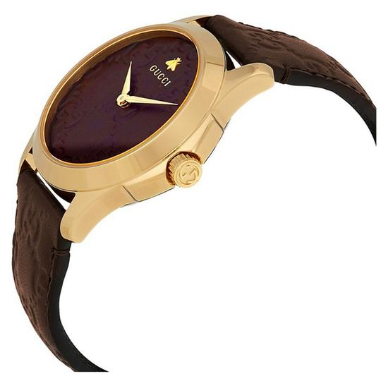 GUCCI G-Timeless Brown Leather Strap GG Dial Men's Dress Watch Style Image 1
