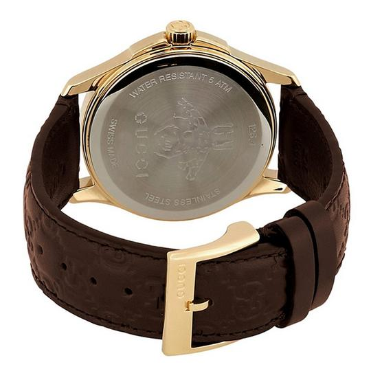 GUCCI G-Timeless Brown Leather Strap GG Dial Men's Dress Watch Style Image 2