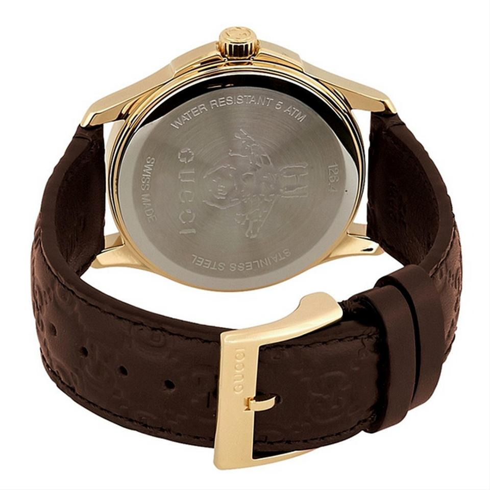 2e77ec11ea6 Gucci G-Timeless Brown Leather Strap GG Dial Men s Dress Watch Style Image  3. 1234
