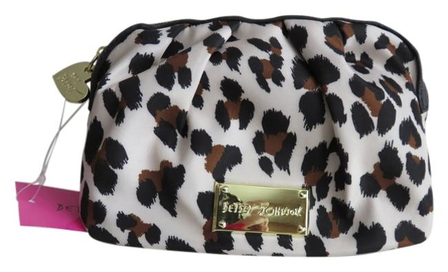 Item - Black Brown Beige Bb16360 Mini Nylon Multicolored and Cheetah Leopard Print Rouched Cosmetic Bag
