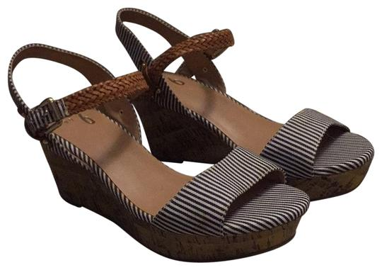 Mix No. 6 Navy Pinstripe Wedges Image 0