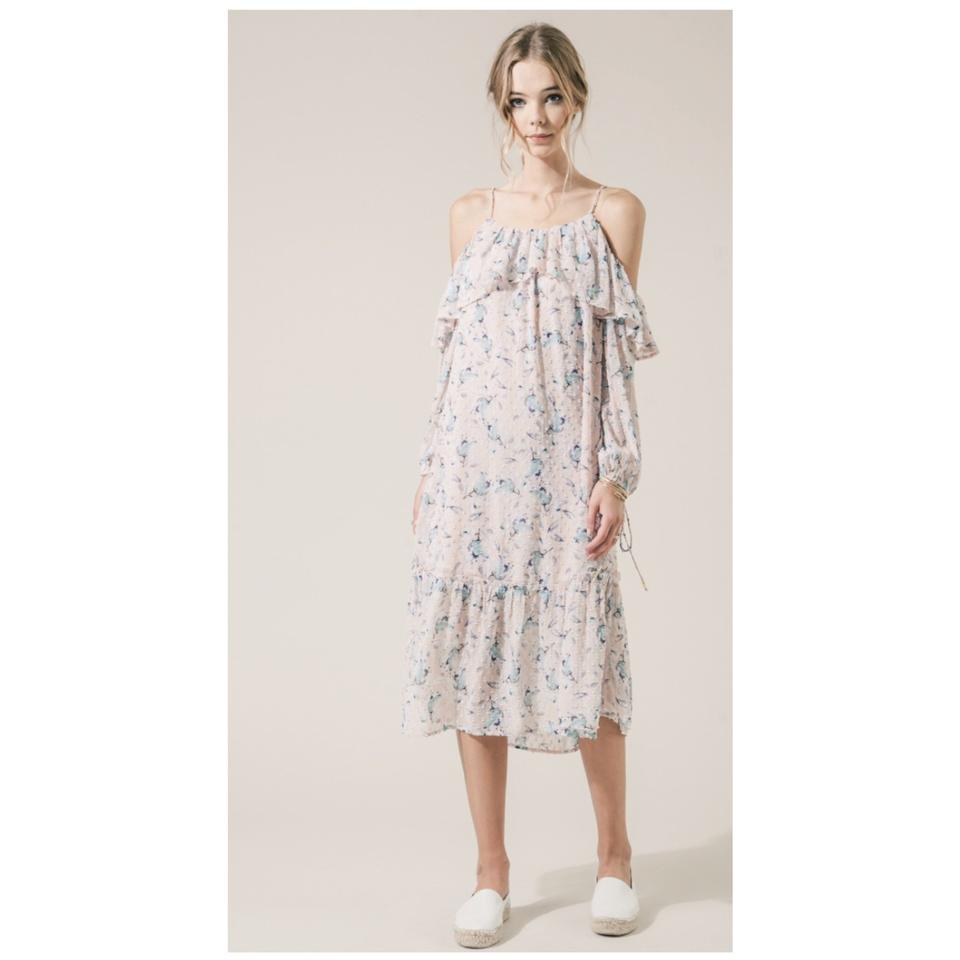 e8271344fca Pink Floral Cold-shoulder Chiffon Casual Maxi Dress. Size  14 (L) Length   Long ...