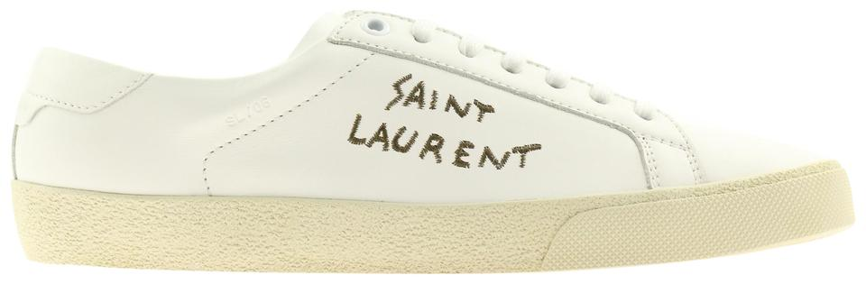 144a002f7fe Saint Laurent White Court Classic Sl/06 Embroidered Sneakers Size EU ...
