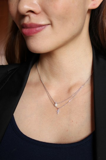 Ocean Fashion Gold Duplexes mini crystal cross pearl necklace Image 2