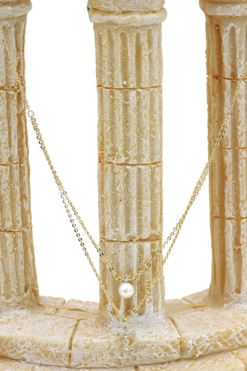 Ocean Fashion Gold Duplexes mini crystal cross pearl necklace Image 3